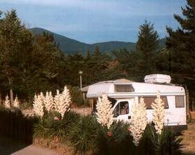 camper with Mount Amiata on back